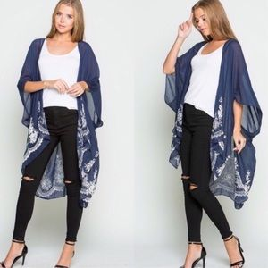 Sweaters - Navy Floral Embroidered Shrug